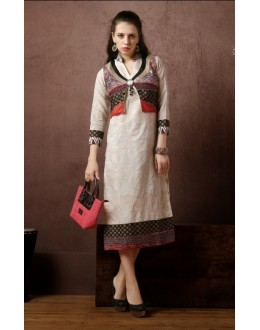 Party Wear Readymade Off White Kurti - Darpan2046